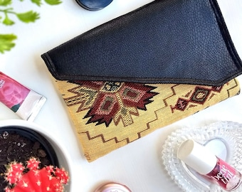 Boho Clutch Aztec Gold, Faux Leather Clutch Purse, Envelope Clutch, Evening Bag, Girlfriend Gift for Her, Tribal Boho Purse, Mexican Handbag