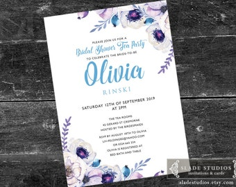 Lilac Blue Floral Bridal shower tea party printable invitations. Lilac, Blue, Purple watercolour floral.