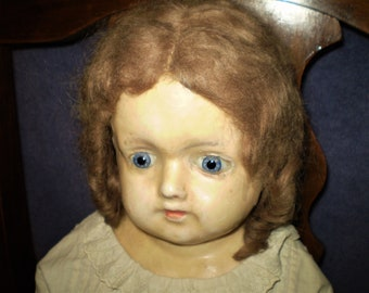 """Large WAX PAPER-MACHE Doll 30"""" Antique w/Glass Eyes Belton? w/Clothes & Great Boots Huge And Heavy Vintage Dolls Display Collectible"""