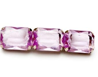 Purple Glass Bar Brooch - Amethyst Glass - Emerald Cut  Crystal - Silver metal - pin