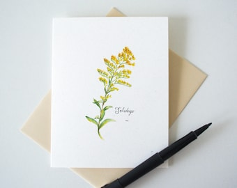 Goldenrod Blossom Blank Notecard - Wildflower Stationery - Botanical Watercolor Print A2 Card