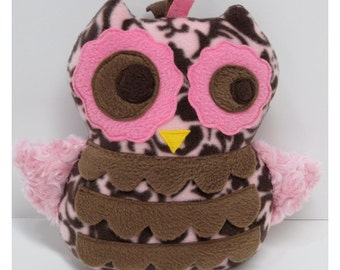 Beautiful Owl in Pink and Brown Print with Pink Fur Wings