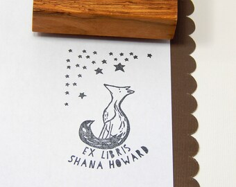 Custom Stargazing Fox Bookplate Olive Wood Stamp