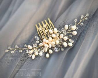 Bridal headpiece, Crystal hair comb, Pearl hair comb, Wedding hair piece, Wedding Hair Comb, Beige hair comb, Wedding crystal comb