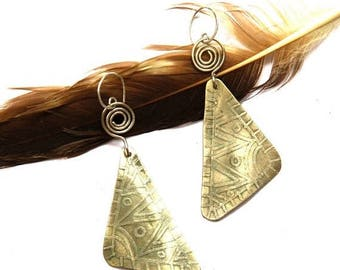 Etched Tribal Silver Earrings (E1271)