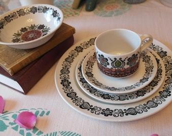 70s Broadhurst Dinner Set / Kathie Winkle Romany Design / 70s Ceramic Dinnerware / Retro Place & Vintage Dinnerware Sets   Etsy