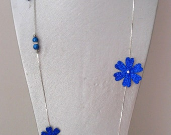 Costume jewelry necklace long necklace blue flowers