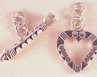 Bali Silver Heart and Arrow Toggle Clasp Sterling Silver B690 (1) Bali Silver Clasp, Heart Clasp, Fancy Toggle Clasp, Sterling Silver Clasp