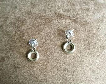Vintage Surgical Steel Round Earrings, 1/2'' Diameter
