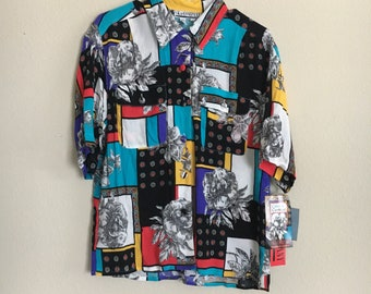 Funky 90s button up with tags still attached