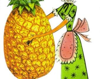 Pineapple Decor for Kitchen, Hawaiian Tropical Decor, Unusual Fun Fruity Decor, Pineapple Gift, Colorful Decoration