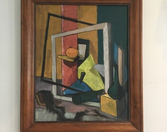 Vintage Mid Century Modern Orange Abstract Cubist Oil Painting