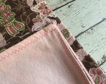 Brown Pink and Green Cotton/Flannel Blanket