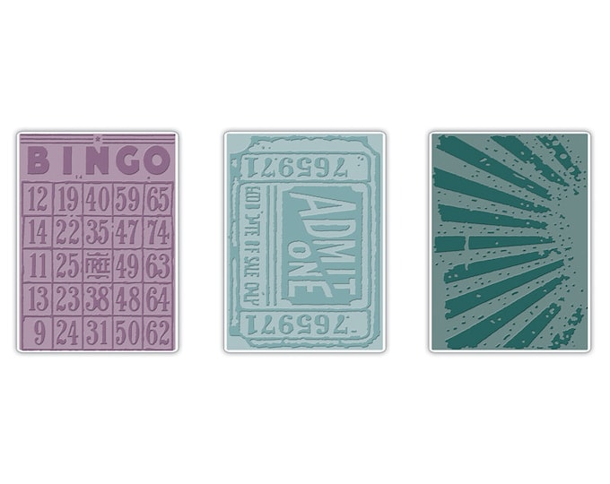 Sizzix Tim Holtz Texture Trades Embossing Folders - Playing Games Set (657193)