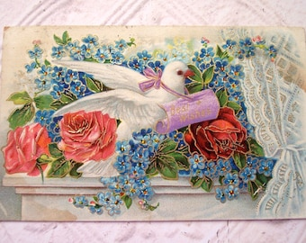 Antique Best Wishes Embossed Postcard Bird and Flowers Mixed Media Scrapbooking Paper Crafting Supplies