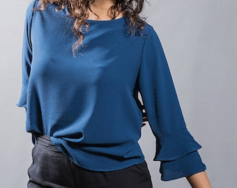 Dark blue blouse with ruffled sleeves