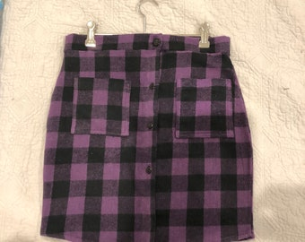 Upcyclyed Purple Flannel skirt