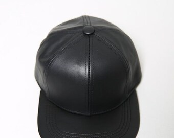 BLACK Genuine lether caps for man and women