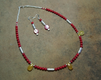AAA Untreated Red Sea Coral And Queens Agate .925 Silver Necklace And Matching Earrings