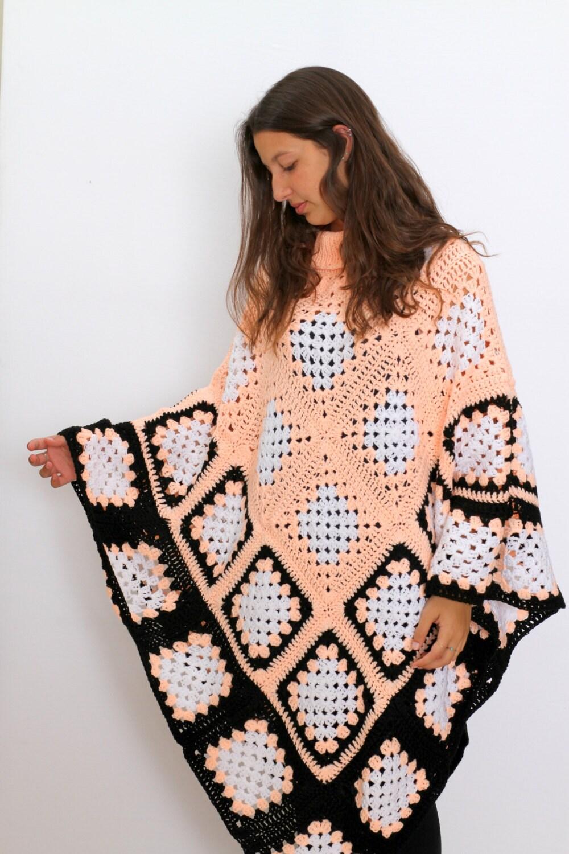 Extra Large Granny Square poncho pattern PDF Cape Pattern
