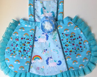 Happy blue Unicorns Apron, rainbow apron,  toddler apron, girls apron
