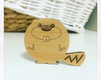 Laser Cut Wooden Beaver Brooch