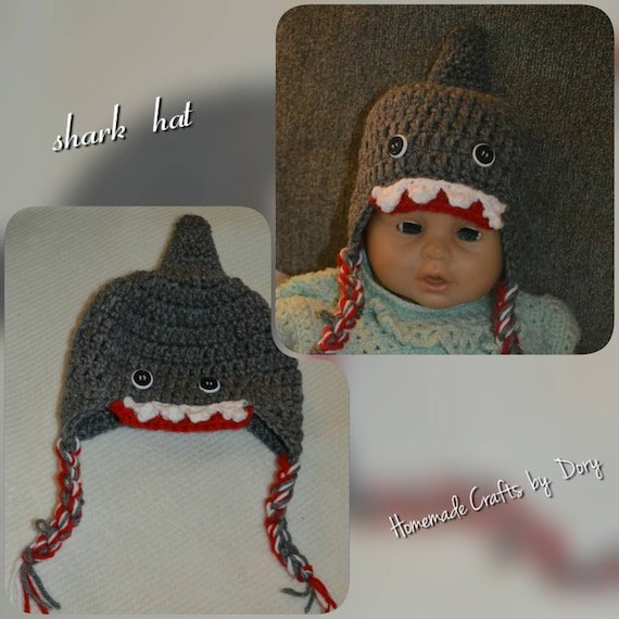 Crochet Hat Photography Prop Crocheted Shark Hat Infant