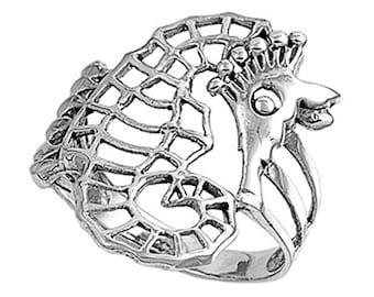 Women Sterling Silver Seahorse Ring 24mm / Free Gift Box(SNRP140891)