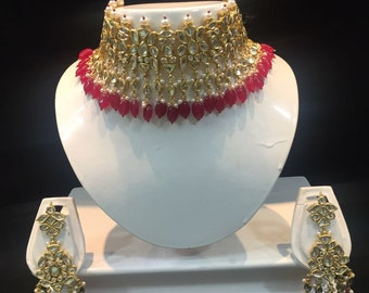 Alyza Pearls Kundan Bridal Choker set in red Onyx