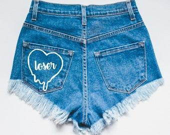 Loser Denim Shorts - High waisted shorts - denim shorts - jean shorts - distressed shorts - ripped shorts - women's shorts - high waisted