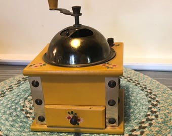 Vintage Yellow Hand Painted Coffee Grinder