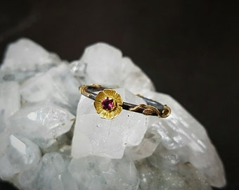 Rubellite tourmaline sterling silver 18k gold floral ring
