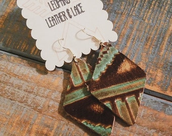 Turquoise & Brown Aztec Leather Earrings