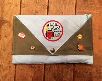 Clutch Bag/Tablet Case Upcycled From Vintage Boy Scout Neckerchief, Indian Mound