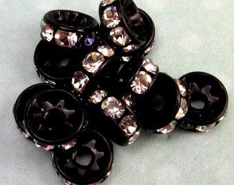 Bead, Rhinestone Rondelle Spacer, Crystal Jet Black, 7 mm, 12 Pc. C208