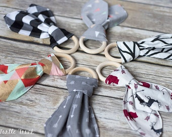Natural Wooden Teether - Wood Teething Ring with Bunny Ears