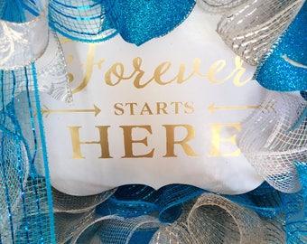 Etsy Large Handmade Something Blue and Silver Etsy Wedding Gift Wreath With Ruffles on Etsy   Wreaths on Etsy   Etsy Wreaths