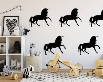 Unicorn Wall Decal Set, Unicorn Stickers, Bedroom Decor, Child's Room Decor