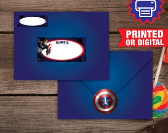 Printed or Digital Captain America Address Labels, Captain America Envelope Seals, DIY, Captain America Party Decoration, Superheroes Labels