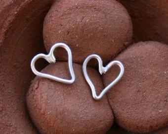 Sterling Silver Heart Post Earrings - Wire Hearts