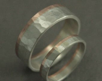 Hammered Wedding Bands--Two Tone Bands--Wedding Band Set--Wedding Ring Set--His and Hers Bands--His and Hers Rings--Rustic Wedding Bands