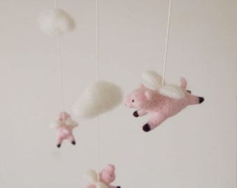Nursery mobile - felted flying pig mobile - felted pig mobile - baby crib mobile - nursery decor