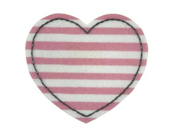 Pink and White Heart Iron On Applique, Love Iron On Patch, Love Applique, Heart Applique, Heart Patch, Fun Patch, Embroidered Patch