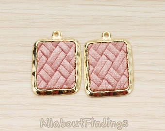 PDT1584-02-G-LA // Glossy Gold Plated Lavendar Colored Synthetic VELVET Covered Rectangle Picture Frame Charm Pendant, 2 Pc