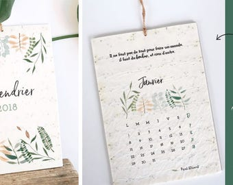 Calendar 2018 plant - 13 sheets of 6 different seeds - 12 quotes