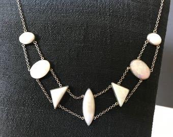 Antique, Sterling, Bezel Set, Opal Necklace