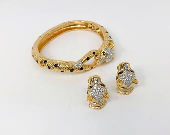 60s Gold Rhinestone Leopard Bracelet & Earrings | Attwood