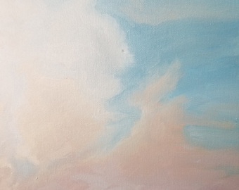 Hazy Morning, Cloud Painting, New England Ocean, Original Oil Painting, Ocean Painting, Home Decor, Gift,