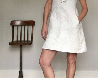 60s mod white dress// A line mini rhinestone girlie collar wedding// Vintage Shannon Rodgers for Jerry Silverman USA// Size s small 4 6 USA