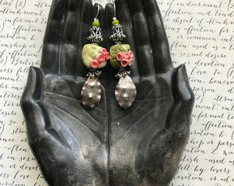 sterling leaf earrings with ceramic buds on lichen, unusual floral jewelry, leaf jewelry, ooak, sterling silver jewelry, Anvil Artifacts